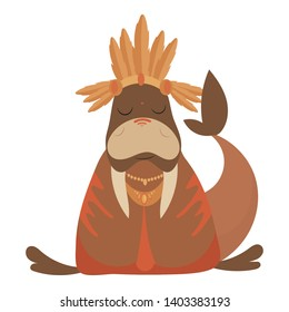 Cartoon walrus indian. Vector illustration of a cute walrus in a headdress with feathers. Drawing animal for children. Zoo for kids.