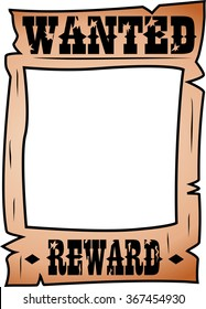 Cartoon wanted poster with rectangular whitespace for face isolated