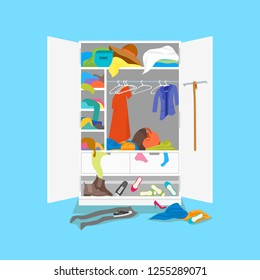 Cartoon Wardrobe Card Poster on a Blue Background Concept Flat Design Style. Vector illustration of Closet Clothing in Interior Room
