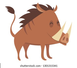 Cartoon warthog.Vector illustration. Drawing animal for children. Zoo for kids.