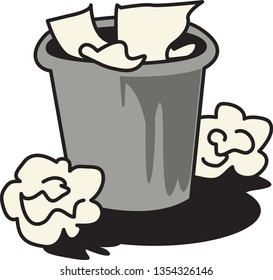 Cartoon wastebasket surrounded by discarded, crumpled paper and trash. Vector illustration