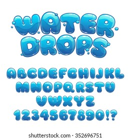 Cartoon water drops font, funny blue alphabet, vector comic letters and numbers