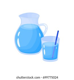 Cartoon water in jar and glass isolated on white background.