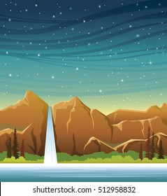 Cartoon waterfall with forest and calm lake at the night starry sky. Wild nature vector landscape. Summer illustration.