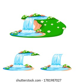 Cartoon waterfall with a pond and water lilies isolated on a white background. Vector illustration of a fabulous nature background with a waterfall.