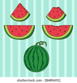 Cartoon watermelon set in vector EPS10. Including whole watermelon, small slice whole and bitten, big slice whole and bitten. Also including light blue stripes seamless background.