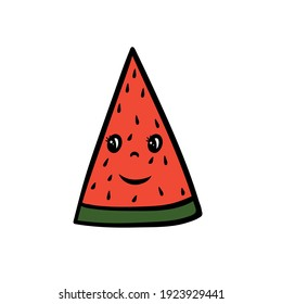 Cartoon watermelon slice with eyes and smile. Vector illustration.