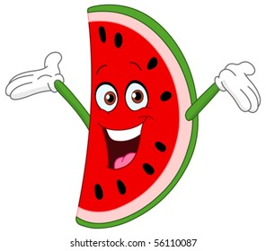 Cartoon watermelon slice raising his hands