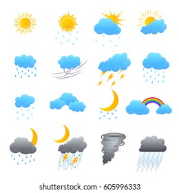 Cartoon Weather Color Icons Set Meteorology Forecast Concept for Web Design Flat Style. Vector illustration
