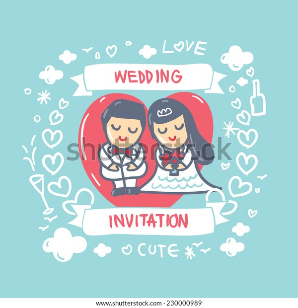 Cartoon Wedding Card Wedding Invitation Card Stock Vector