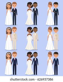 Cartoon wedding characters. Animated bride and groom standing in different poses. Couple newlyweds. Vector flat avatars people. Icons male, female.