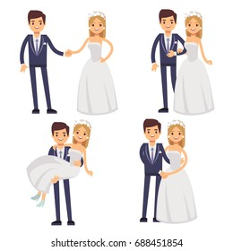 Cartoon wedding couple. Just married vector characters. Groom and bride love togetherness and happiness illustration