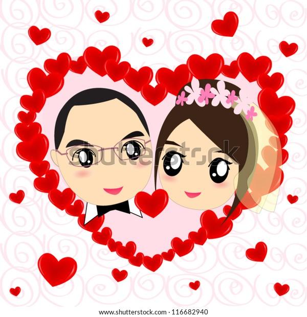 Cartoon Wedding Couple On Red Heart Stock Vector Royalty