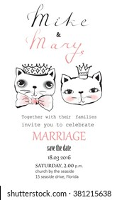 Cartoon wedding picture for invitation with cute cats