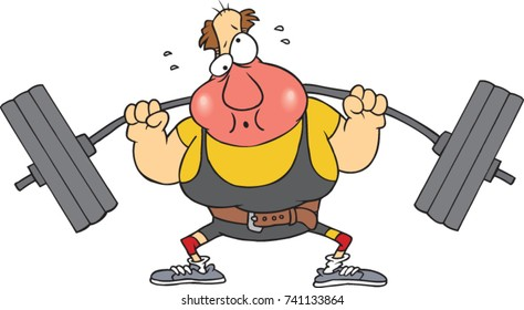 cartoon weight lifter who is turning red in the face