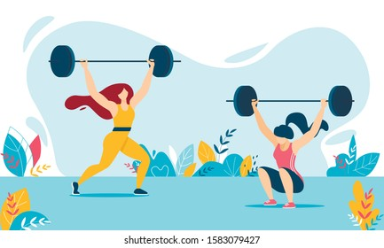 Cartoon Weight Lifter Woman Characters Training. Strong Girls in Sportswear Lifting and Squatting Heavy Barbell. Female in Tracksuits. Weightlifting Fitness, Workout, Sport. Vector Flat Illustration