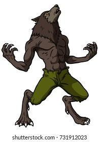 Cartoon Werewolf Howling