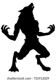 Cartoon Werewolf Howling Silhouette