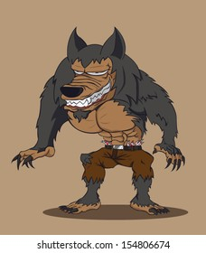 Cartoon werewolf. Vector illustration