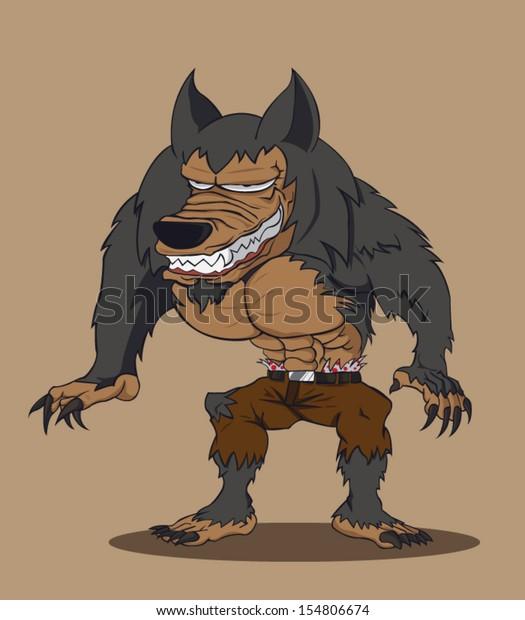 Cartoon Werewolf Vector Illustration Stock Vector (Royalty ...