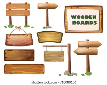 Cartoon west wood banner set. Western signboards. Old wooden signs for messages or pointers for path finding hanging on ropes. Wooden signpost. Isolated vector illustration for game design.