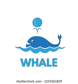 Cartoon whale flashcard. Vector illustration for children education
