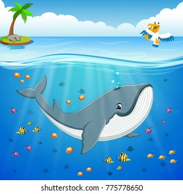 Cartoon whale under the sea