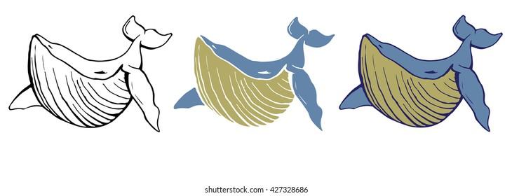 Cartoon whale vector.
