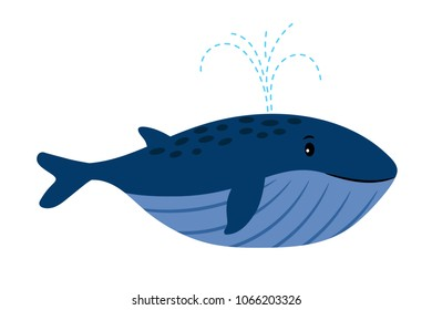 Cartoon Whale. Vector illustration of swimming whale with water fountain blowhole blow or spout spray on white
