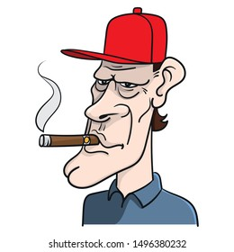 Cartoon of a white American with a thick cigar in his mouth and a red cap on his head. USA, Ugly, Republican Party.