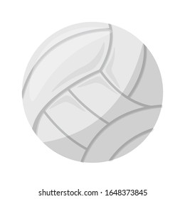 Cartoon white ball isolated on transparent background. Sports equipment for playing beach volleyball or water polo team game enjoying active recreation, outdoors leisure activity. Vector Illustration