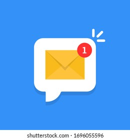 cartoon white bubble with email notice. flat simple style trend modern edm e-mail logotype graphic design isolated on blue background. concept of you've got mail and full inbox or mailbox buble symbol
