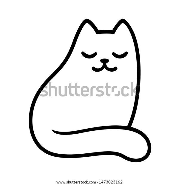 Cartoon White Cat Drawing Closed Eyes Stock Vector Royalty Free