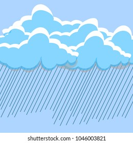 Cartoon white clouds isolated on blue sky panorama. Cloudscape. Bad weather, rain concept. Vector flat illustration.
