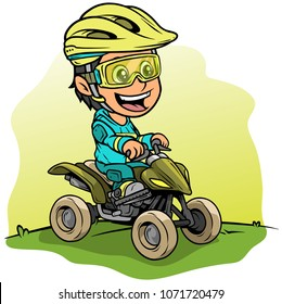 Cartoon white cute smiling flat brunette girl character driving off-road quad motorbike in protective helmet and glasses. On yellow background. Vector icon.