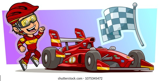 Cartoon white cute smiling flat jumping girl character with modern red sport car, cool stickers and racing flag in protective helmet and glasses. Vector icon.