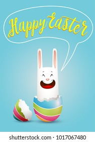 Cartoon white Easter bunny jumping out from broken colored egg. Vector