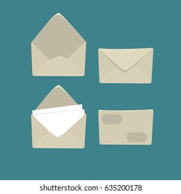 Cartoon white envelopes isolated on white background. Set for illustration about post and mail in simple and flat style