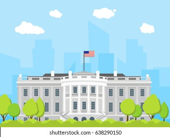 Cartoon White House Building Exterior Facade Government Architecture House Flat Design Style. Vector illustration