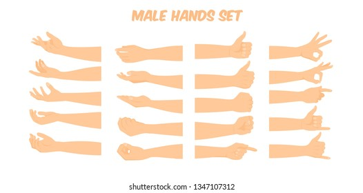 cartoon white male hand forming various shapes and symbols viewed form different angles, vector illustration