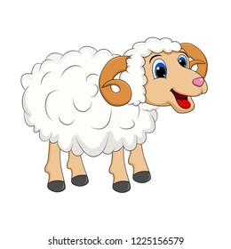 cartoon white ram design isolated on white background