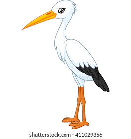 cartoon white stork