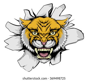A cartoon Wilcat Cougar mascot ripping out of the background