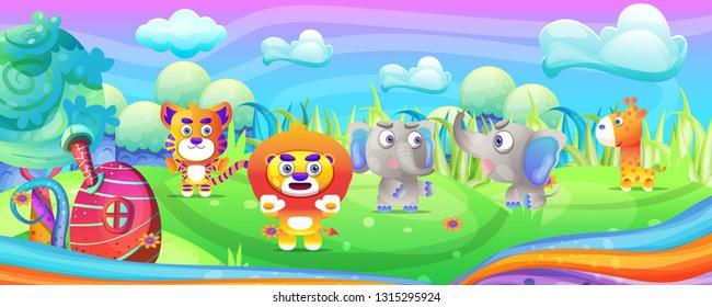 Cartoon wild animal in the fantasy land - Vector