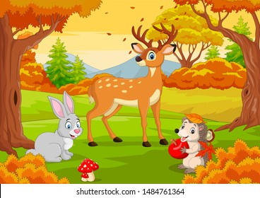 Cartoon-Wildtiere im Herbstwald