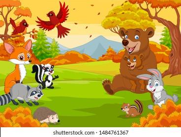 Cartoon wild animals in the autumn forest