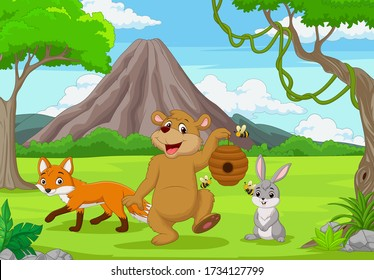 Cartoon wild animals in the forest