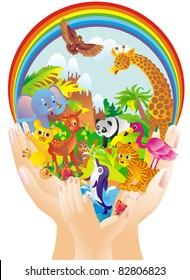 Cartoon wild animals in hands
