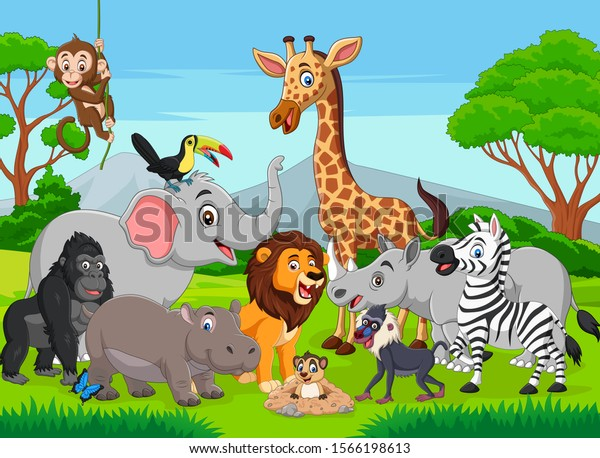 Cartoon Tusk less Elephant & wild animals in the jungle for Children's Wall Murals