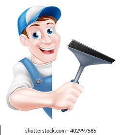 A cartoon window cleaner man in a cap hat and blue overalls holding a squeegee tool